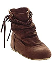 Minetom Mujer Otoño E Invierno Calentar Botas De Flecos Moda Zapatos Cargadores Cómodo Botines