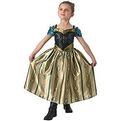 Disfraz infantil de la coronación de Anna, hermoso disfraz oficial de la película Frozen, de Disney