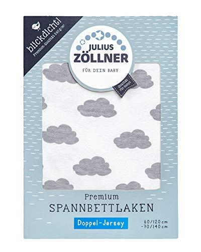 Julius Zöllner 8357158002 Jersey Spanntuch Premium, blickdicht, aus Jersey Doppeltuch, passend für Kinderbetten 60x120 und 70x140 cm, clouds grey