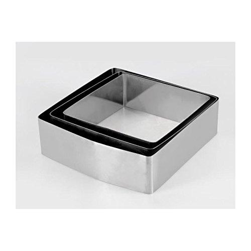 Equinox 516608 Lot de 3 Moules à Gâteau Forme Carrée Acier Inoxydable INOX 6,5 x 21 x 20,5 cm