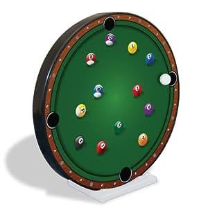 ThumbsUp- Horloge magnétique murale en forme de table de billard avec boules
