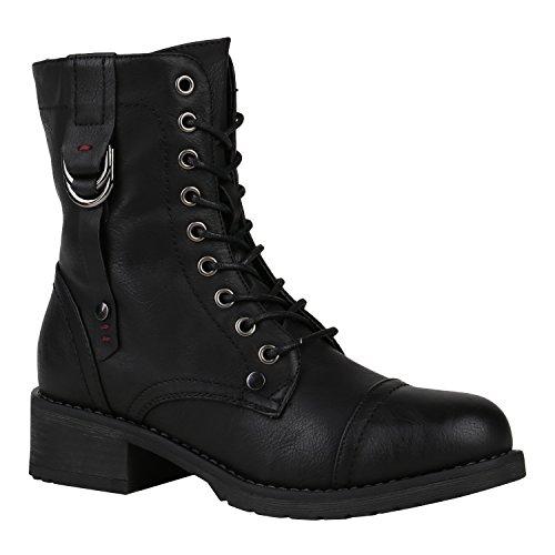 etten Gefütterte Schnürstiefeletten Schnallen Stiefel 150424 Schwarz Nieten 40 Flandell (Schwarze Kurze Stiefel)