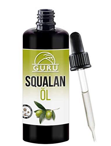 Squalan Öl Naturrein von Guru | Rein Pflanzlich | Vegan | Für Seidige Haut | Serum Arganöl Ersatz | Haaröl Pflege Gesicht | 100ml -