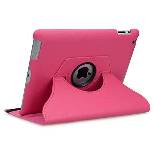 doupi Deluxe Schutzhülle für iPad 2 3 4, Smart Case Sleep/Wake Funktion 360 Grad drehbar Schutz Hülle Ständer Cover Tasche, pink