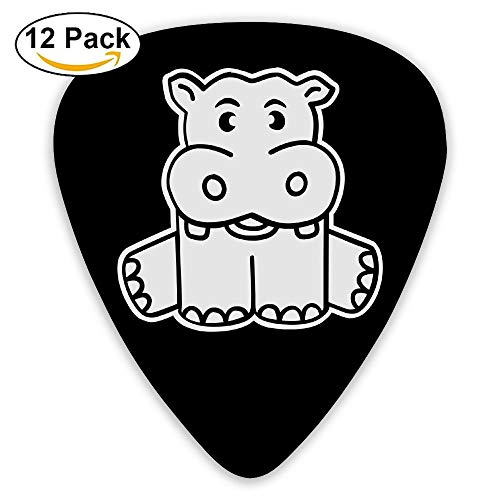 Celluloid Guitar Picks Best Gift For Guitar Lover Electric Guitar Plectrums,Print Baby Hippo,0.46Mm/0.73Mm/0.96Mm,12 Pack