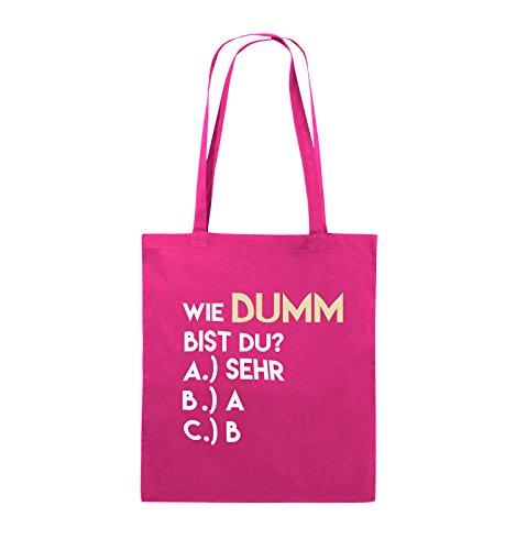 Comedy Bags - Wie dumm bist du? - Jutebeutel - lange Henkel - 38x42cm - Farbe: Schwarz / Weiss-Neongrün Pink / Rosa-Weiss-Beige