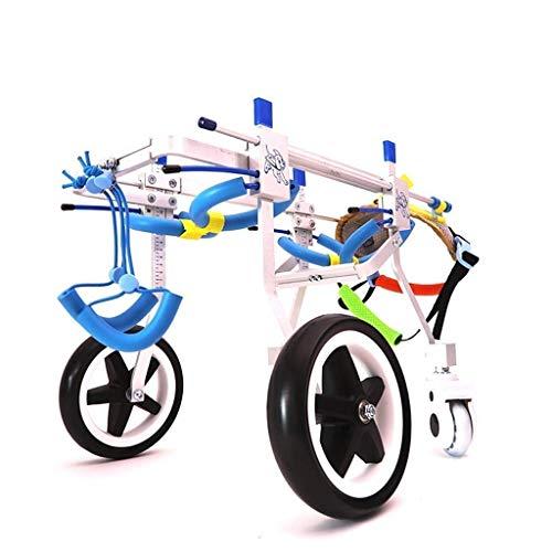 ZGONGLQQ Rollstuhl für die Hinterhand von Haustieren, verstellbares 4-Rad-Hunderad, orthopädische Behandlung von Arthritis und Hüftdysplasie bei Hunden (1-50 kg) XXS-M (Größe: S)