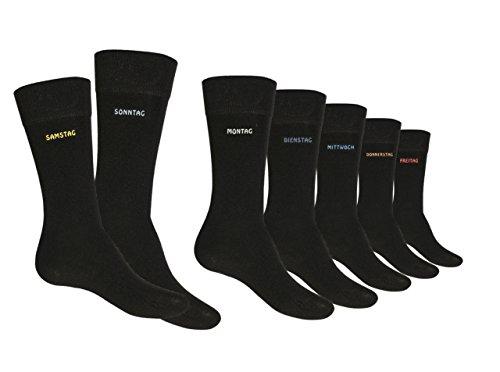 7, 14 oder 21 Paar Damen & Herren Socken Marke Cocain schwarz mit einem Wochentag am Schaft Grössen 35-38, 39-42, 43-46 oder 47/50, 7 Paar, 35/38