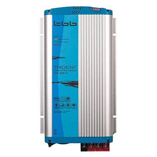 Trident TBB Power BP1240-3A Ladegerät, 12V, 40A, 3 Ausgänge, mit 1.5m Kabel und Temperatur Sensor, für KFZ, LKW, Wohnmobil, Boot, Blau und Silber -