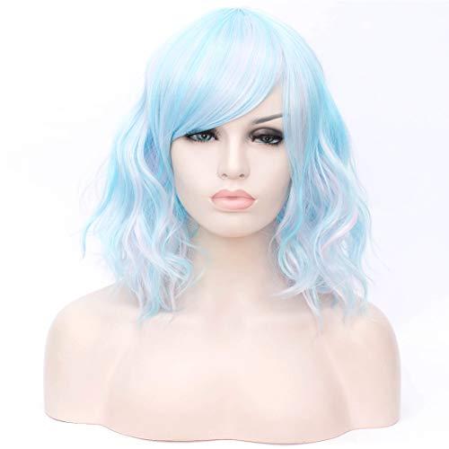 Mix Farben Blau Synthetische Cosplay Perücken für Frauen Halloween und Karneval + Kostenlose Perücke Cap ()