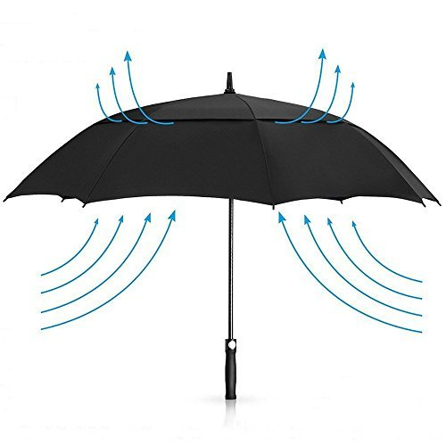 Automatik Stockschirm - Regenschirm 158 cm GolfSchirme für herren männer Familiengebrauch mit Fiberglas Gestänge Sehr stark und Robust Sturm geschützt durch Doppelkappe mit Windöffnung - Schwarz