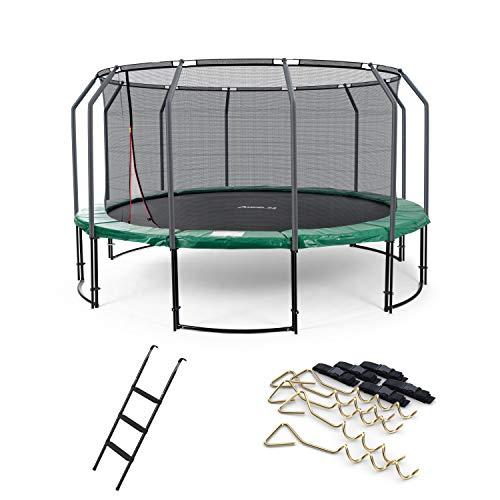 Ampel 24 Deluxe Outdoor Trampolin 490 cm mit innenliegendem Netz, Leiter & Windsicherung, Belastbarkeit 180 kg, Sicherheitsnetz mit 12 gepolsterten Stangen