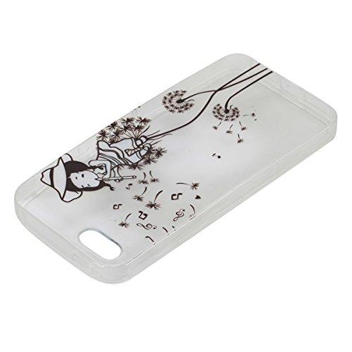 iPhone 5S Hülle, iPhone SE Hülle, Gift_Source [ Meow Cat ] Hülle Case Transparent Weiche Silikon Schutzhülle Handyhülle Schutzhülle Durchsichtig TPU Crystal Clear Case Backcover Bumper Case für iPhone E1-Löwenzahn Mädchen
