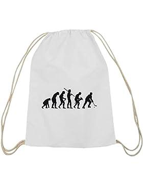 Shirtstreet24, EVOLUTION EISHOCKEY, Baumwoll natur Turnbeutel Rucksack Sport Beutel