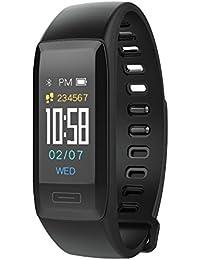 Muamaly Fitness Armband, Aktivitäts-Tracker Mit Herzfrequenzmonitor Und Schlafmonitor, Fitness Trackers Mit Pulsmesser, Smartwatch Wasserdichter Bluetooth-Pedometer (Schwarz)