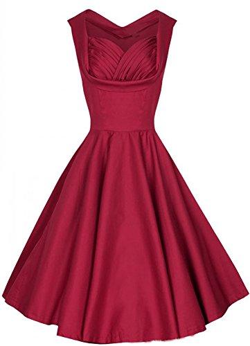 Eyekepper Robe cocktail Femme / demoiselle - Robes Vintage 1950 rouge vin