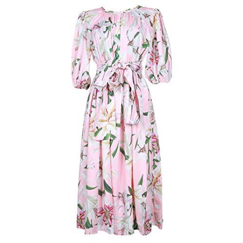 Sommer Frauen Plissee Rundhals Kurzarm Kleid Fashion Lily Print Puff Sleeve Großes Swing-Midikleid Pink-S Puff Sleeve Swing