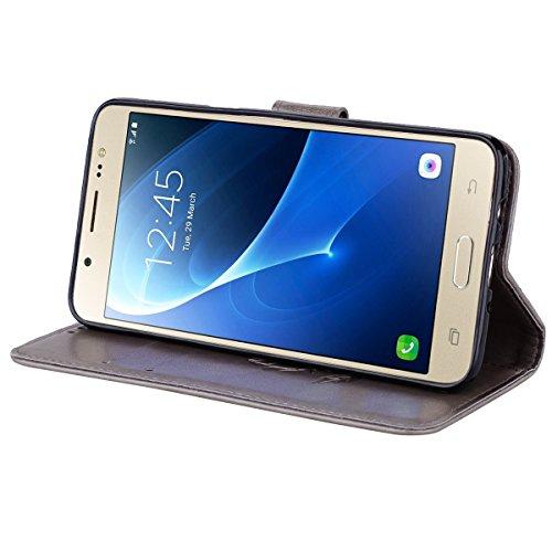 Coque Samsung J5 (2016) Anfire Fleur Motif Peint Mode Coque PU Cuir pour Galaxy J5 (2016) Etui Case Protection Portefeuille Rabat Étui Coque Housse pour Samsung Galaxy J5 (2016) / SM-J510FN (5.2 pouce Gris