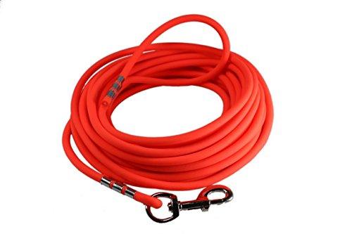 EasyCare Schleppleine 8 mm RUND, 10 Meter, Neon-Orange, mit Handschlaufe (wasserfest & pflegeleicht durch PVC-Ummantelung)