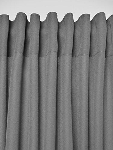 2er Set einfarbige Verdunkelungsvorhänge Blickdicht Gardinen (RENO Grau 51, 140×150 cm – BxH) verdunkelung Vorhang Gardine mit Tunnelband, 2 Stück lichtundurchlässig Vorhänge für Wohnzimmer Schlafzimmer Kinderzimmer - 4
