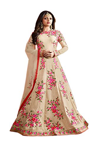 Ap enterprises Cream COLOR LATEST INDIAN DESIGNER ANARKALI SALWAR KAMEEZ DRESS for...