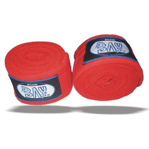 """BAY® """"MONSTER"""" 5 m ROT Boxbandagen + WICKELANLEITUNG, elastisch, fünf Meter x 5 cm, Box-Bandagen, Handbandagen, Faustbandagen, Paar, 2 Stück Wraps Wrap Binden Boxen Boxer Handwraps"""
