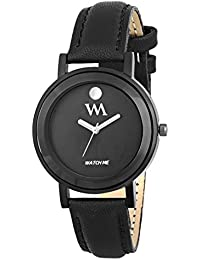 WM All Black Collection Black Dial Black Leather Strap Watch For Women And Girls WMAL-330-F