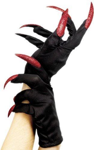 Nero Da Donna Halloween Guanti Con Lungo Glitter Rosso Unghie