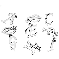JewelryWe Gioielli collana con pendente da uomo donna acciaio inox Alfabeto Lettera iniziale ciondolo catenina lunga 18 pollici (A)