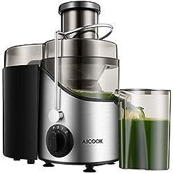 Entsafter, Aicook Zentrifugaler Entsafter, 65MM Breiter Mund Edelstahl Entsafter, BPA-Frei, mit Rutschfesten Gummifüßen, Saftmaschine mit Drei Geschwindigkeiten für Gemüse und Obst