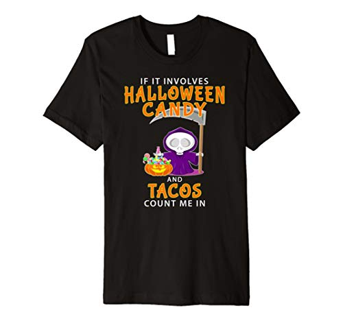 Lustiges Halloween T-Shirt Halloween Candy & Tacos