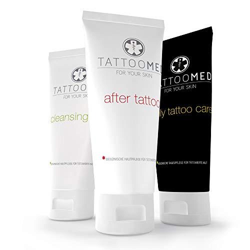 TattooMed Tattoo-Pflege Set, Medizinisches Hautpflegekomplettsystem für tätowierte Haut, 3er Pack (3 x 100 ml)