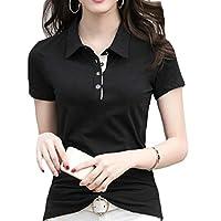 ZXFHZS Womens T-Shirt Summer Casual Slim Fit Short Sleeve Solid Polo Shirt Black XS