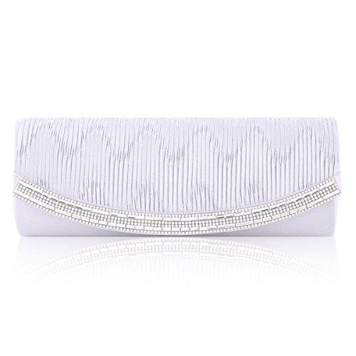 Damara® Damen Eleganz Glatt Satin Abendtaschen Mit Faltenwurf Weiß