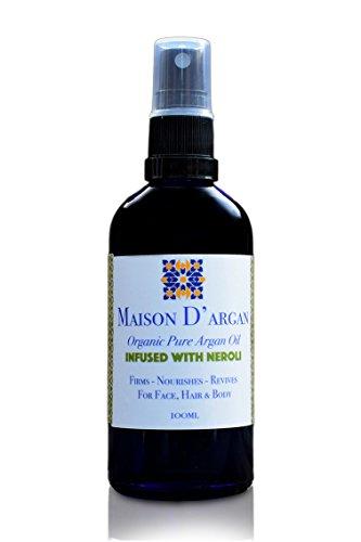 Maison D'argan Huile d'Argan Bio Néroli pour Cheveux, Visage et Corps 100% Pressée à froid, Certifiée ECOCERT, Pure, Fabriquée à la main par des femmes berbères (Néroli, 100 ml)