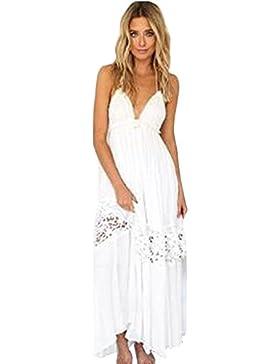 SKY Celebrate for the Summer !!!Mujeres La Sra honda filtre de nuevo larga sección de blanco vestido de playa