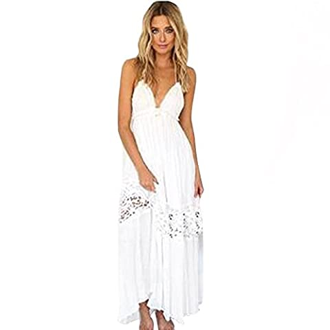 Fami Women Summer Boho Long Maxi Robe de soirée Robes de plage Sundress (M)