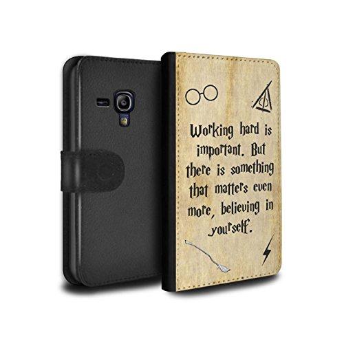Stuff4® PU-Leder Hülle/Case/Tasche/Cover für Samsung Galaxy S3 Mini/Working Hard/Believe Muster/Schule der Magie Film Zitate Kollektion