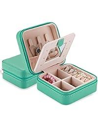 ProCase Estuche Joyero Pequeño, Mini Caja Almacenamiento Portable para Joyería, Organizador de Viaje de Doble Capa con Espejo para Joyas Collares Pendientes Aretes Pulseras Anillos -Turquesa