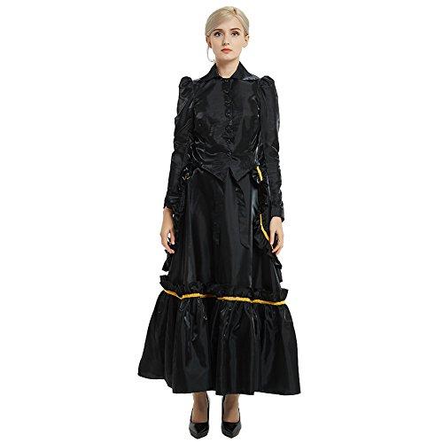 GRACEART Steampunk Edwardian Kleid Jacke und Rock Anzüge mit Geschäftigkeit (Schwarz, ()