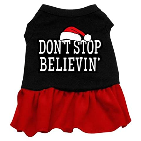 Dog Supplies Dont Stop Believin Screen Print Kleid Schwarz mit Rot Med (12)