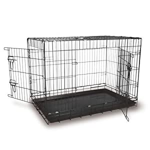 """24"""" black two door fold flat dog cage EC24 + travel bowl by doghealth"""