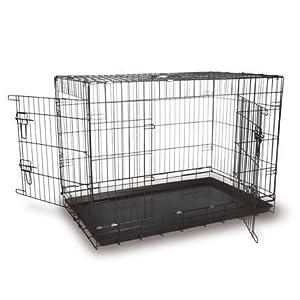 "EC42 lightweight black fold flat dog cage 42"" from doghealth"