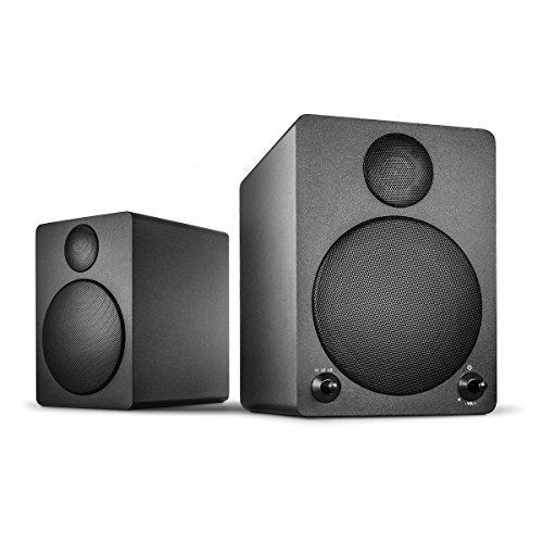 Wavemaster Cube black Regal-Lautsprecher-System (50 Watt) mit Bluetooth-Streaming Aktiv-Boxen Nutzung für TV/Tablet/Smartphone schwarz (66320)