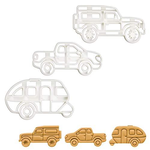 Bakerlogy 3er Campingfahrzeug Ausstechformen (Formen: Wohnwagen, Pick Up Lastkraftwagen, SUV), 3 Teil