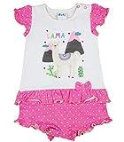 Baby Mädchen Spieler kurz mit Lama Motiv von Disney in Größe 56 62 68 74 80 für 0-6 Monaten,bis 1 Jahr, ideal statt Body oder als Baby-Kleid für Sommer Farbe Modell 1, Größe 80