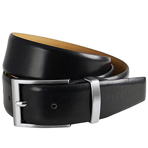 Pierre Cardin Mens leather belt / Mens belt, leather belt curved with metal loop, black, Farbe / Color:noir, Size:100