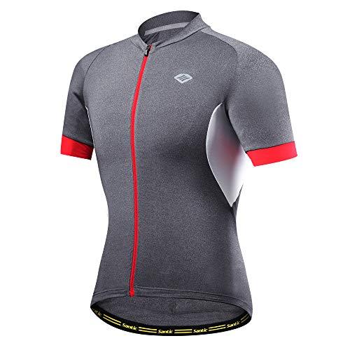 Santic Herren Radtrikot Kurzarm Bike Shirts Quick Dry atmungsaktiv Fahrrad Tops, Herren, Grey-6301, US X-Large -