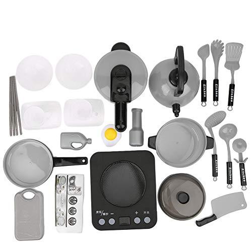 Bicaquu 24 STÜCKE Kind Rollenspiel Küche Lebensmittel Herd Kühlutensilien Interaktion Spielzeug für Kind Geschenk(Schwarz) -