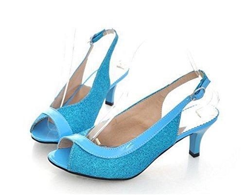 Wealsex Sandales à talons Paillette Escarpins Vernis Bride arrière Femme Bride Cheville Boucle Bout ouvert Talons Moyen Confortable Bleu